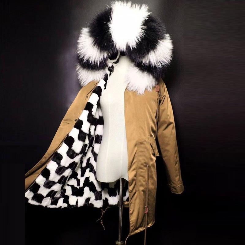 2017 étanche longue parkas veste d'hiver femmes parka réel naturel manteau de fourrure fourrure de raton laveur collier chaud épais doublure en fourrure de renard
