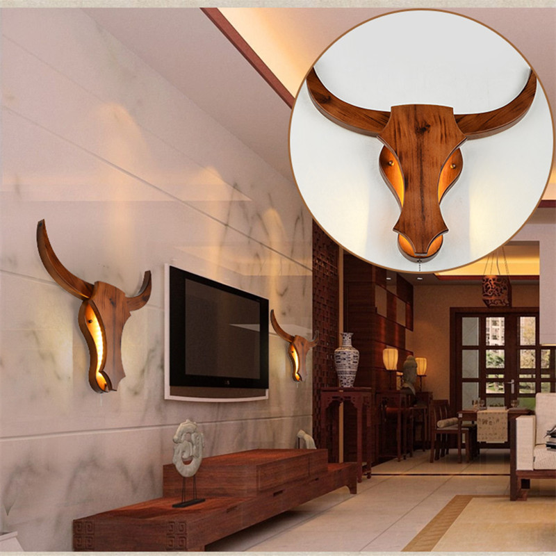 Nordic Modern Living Room Bedroom Wandlamp Simple Restaurant Study Home Deco Wall Lamps Cow Head Wood Hanging Lamp Lighting-in LED Indoor Wall Lamps from Lights & Lighting    3