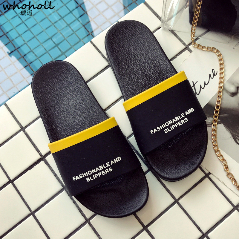 WHOHOLL Couple Slippers Men Women Flat Flip Flops Shoes Soft Stripes Letter Casual Summer Home Bedroom Slippers Chaussures Femme in Slippers from Shoes