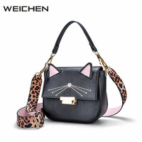 Shoulder Bag Girl Cute Cat Embroidery Cross Body Bags Leather Women Leopard Strap Ladies Handbags Luxury