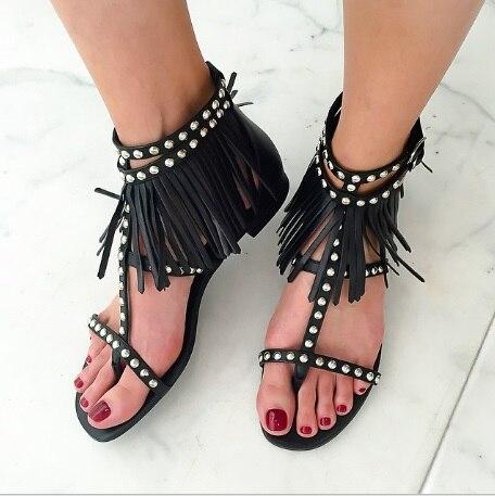 Boucle Métal Cheville Appartements Chaude Marée Chaussures Summer Designer 2018 Hot Femme As Rivets Fringe Foule Pics Sandales wIXnApqPgx