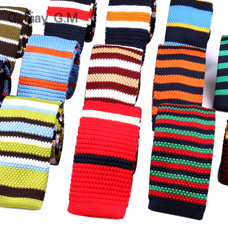 Mens Knit Ties Casual Striped Knitted Neck Ties For Men Wedding Suits Polyester Slim Neckties Gravatas Business Skinny Men Ties