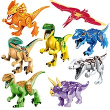 16 Pcs Dinosaur Building Blocks Action Figures Toy Set - Dino Stackable Lot  for Boys and Girls, Perfect as Par