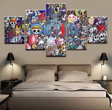Modern HD Printed Pictures 5 Panel Anime One Piece Logo Living Room Wall Art Home Decoration Framework Canvas Painting Poster
