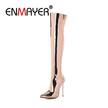 ENMAYER Mirror Pu Thin High Heels Women Boots Sexy Over The Knee Boot Pointed Toe Shoes Winter Warm Lady Fashion Party CR832