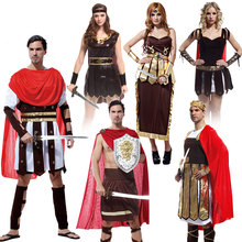 Umorden Halloween Carnival Party Costume Adult Couple Roman Greek Armor Soldier Warrior Gladiator Costumes Dresses for