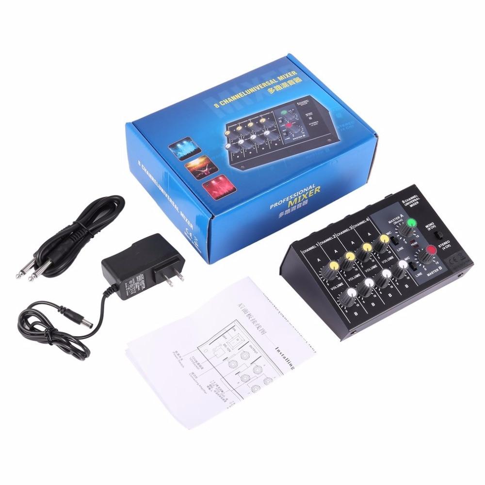 Console de mixage numérique 8 canaux Console de mixage universelle karaoké Console de mixage micro Mono/stéréo Console de réglage