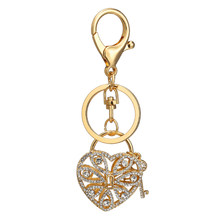 Fashion Bag Pendant Heart Key Metal Alloy Cool Diamante Gold Crystal Diamond -encrusted KeyChain Women Wallet Handbag Schoolbag 7acb1328011e