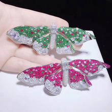 S925 Sterling Silver Accessories Brooch Female Butterfly Pin High-Grade Silk Scarf Buckle Coat Fashion