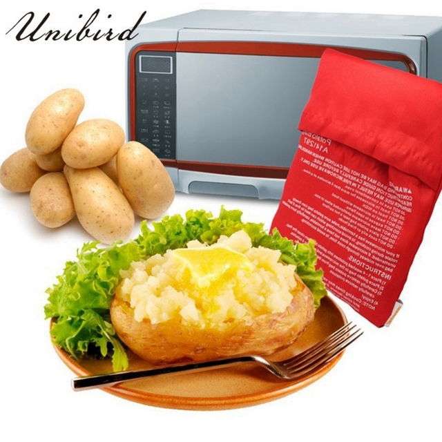 Unibird Potato Bag Red Washable Cooker Express Baked 4 Potatoes Microwave Easy To Cooking