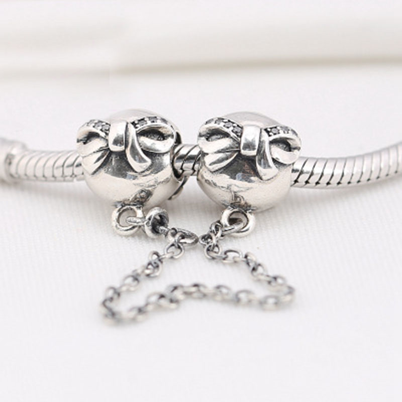 Authentic 925 Sterling Silver Bead Bowknot Safety Chain Charm Fit Original Europe Bracelets DIY Charms Jewelry