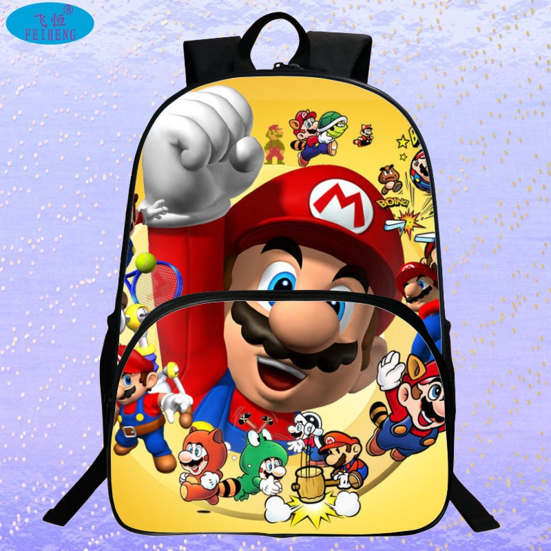 New 2017 Hot Sale Children's 3D Cartoon Backpack Cool Super Mario School Backpack for Kids Mario Bros Shoulder Bags for Boys super mario bros plush green shell backpack bag purse cosplay super funny and cool rare