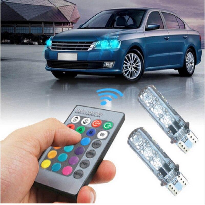 2x RGB T10 LED Bulb Remote Control Parking Light 16 Color For Toyota Corolla Avensis Yaris Rav4 Auris Hilux Camry Prius Prado