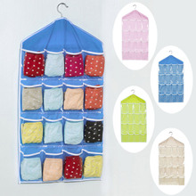 16 Pockets Foldable Wardrobe Hanging Bags Socks Briefs Organizer Clothing Hanger Closet Shoes Underpants Storage Bag J2Y