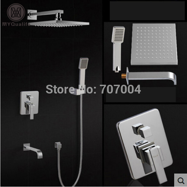 Wall Mounted Concealed Install Shower Faucet Set Single Handle Bathtub Shower Mixer tap with Handshower brass chrome single handle 3 ways mixer shower faucet wall mounted 8 rainfall bathtub shower complete set handshower