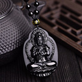 Drop Ship High Quality Natural Black Obsidian Carved Thousand Hands Of Guanyin Buddha Pendant Necklace For Women Men pendants