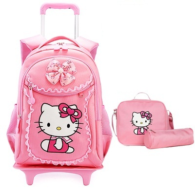 Hello Kitty Children School Bags Mochilas Kids Backpacks With Wheel Trolley Luggage For Girls backpack Mochila Infantil Bolsas retail 1pc 2015 new children backpacks hello kitty school bags sweet bows pu leather school backpacks for girls mochila escolar
