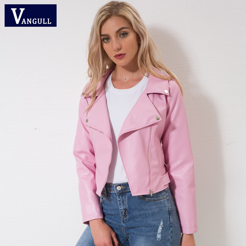 New Fashion Women Jacket PU   Leather   Long Sleeve Coat 2018 Spring Autumn Women's clothes Zipper pure color short Lady Tops