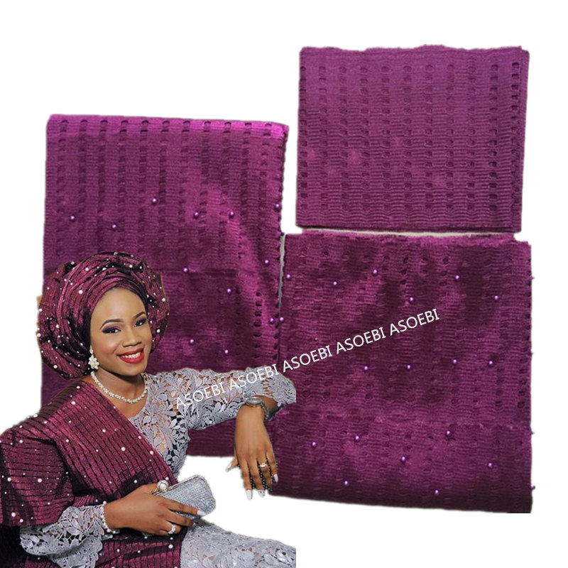 Purple Color African ASO OKE Headtie With Many Beads High Quality Asooke For Head With Free Shipping Wedding Party 40