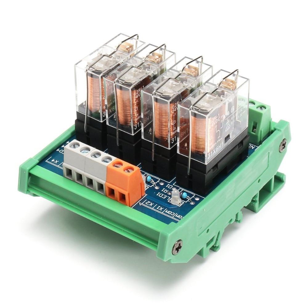 DC24V Relay DIN Rail Mount 4 SPDT 10A Power Relay Interface Switch slim din rail mount dc5v sink npn 8 spst no 5a power relay module pa1a 5v