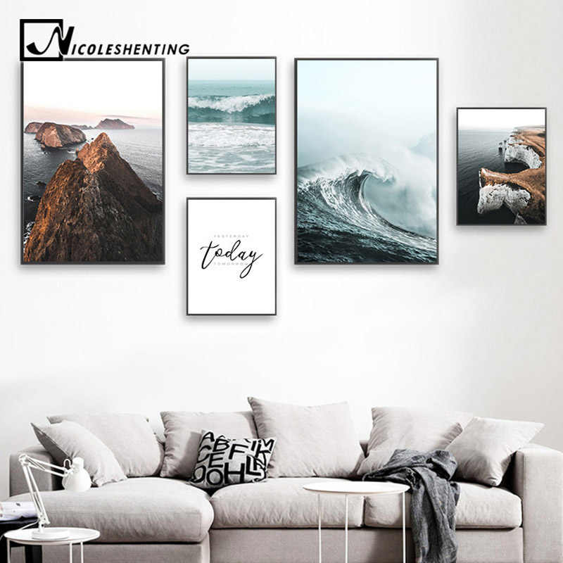 Sea Waves Landscape Canvas Poster Nordic Style Inspirational Wall Art Print Painting Decoration Picture Scandinavian Home Decor