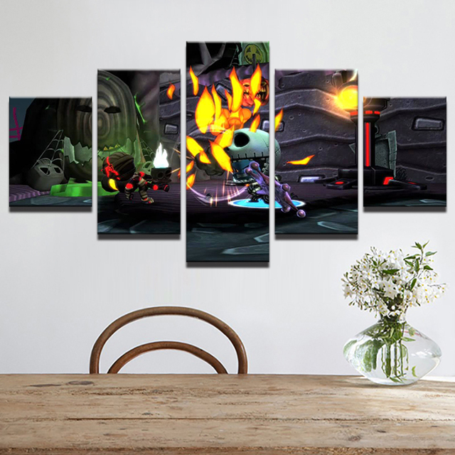 hd print canvas painting home decor modular picture 5 panel nightmare before christmas wall art prints