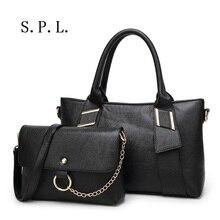 S.P.L. marca de Moda de Las Mujeres de Cuero Bolso de Cadena Pequeña Bolsa de Hombro + Bolso de Diseño de Lujo del bolso de Totalizador de Las Señoras conjunto