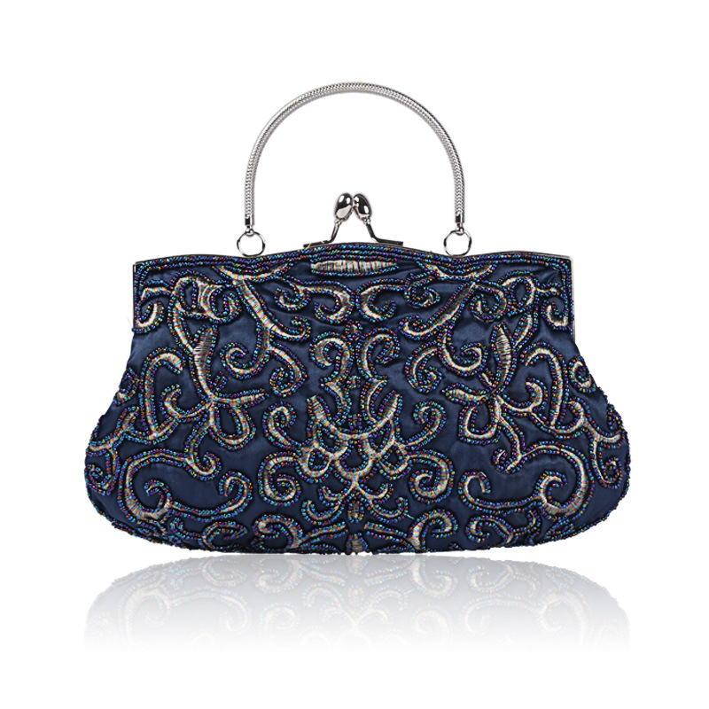 Women's Evening Clutch Bag with Shining Sequins, Handbag with Detachable Chain