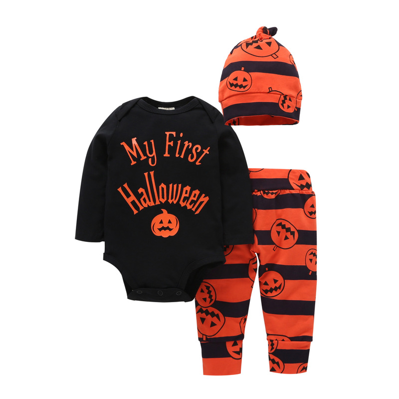Halloween Costume Pumpkin Baby Clothing Set 3pcs Romper+pumpkin Pant + Hat Infant Toddler Boys Girls Clothes for 0-2Y H938