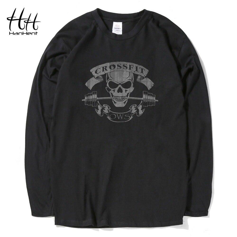 2ad6d0dacf9 HanHent crossfit crânio longo t shirt homens 2017 verão novidade casual  tops camiseta sportswear dos ganhos de fitness treino de algodão tshirt