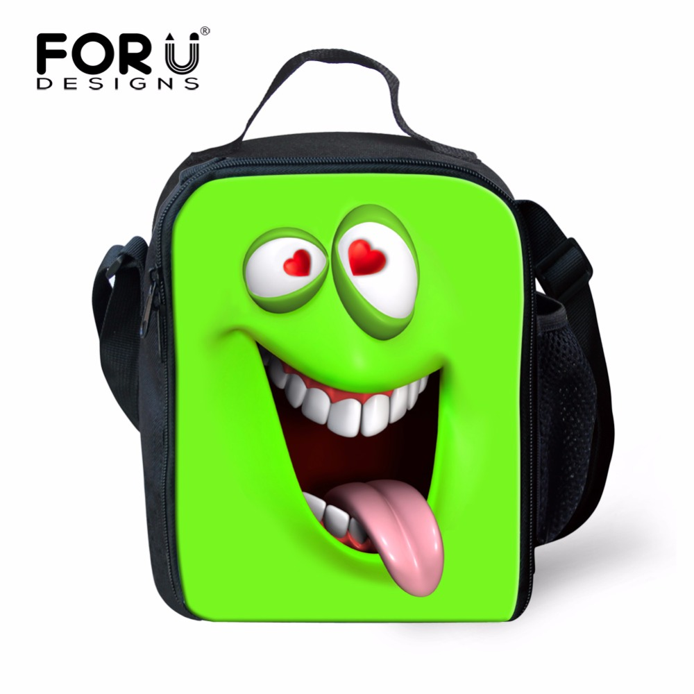FORUDESIGNS Green Emojy Funny Picnic Food Lunch Box Bag Outdoor Zipper thermal Insulated Travel Storage Printing Handbag for Kid