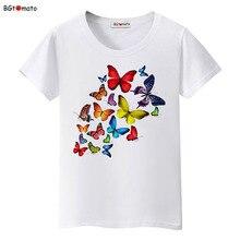 Bgtomato verano colorido mariposa camiseta mujer encantadora ropa camiseta Cool Top Tees marca camiseta kawaii más tamaño