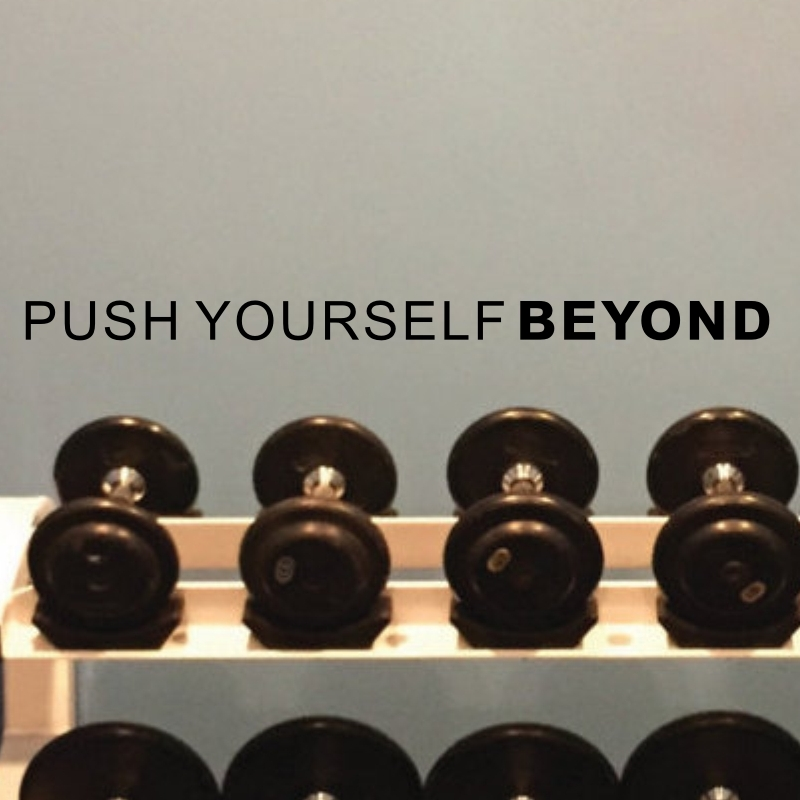 3e56fc94b655 PUSH YOURSELF BEYOND Inspirational Quote Vinyl Wall Art Sticker for Gym  Wall Decor