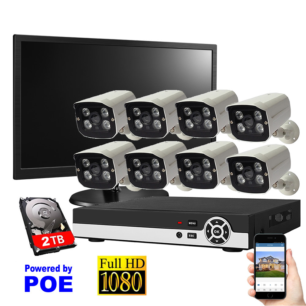 8CH Security System POE Waterproof Night Vision IP Camera 1080P+17 LCD Display+2TB HDD Surveillance System Full NVR Kit ...