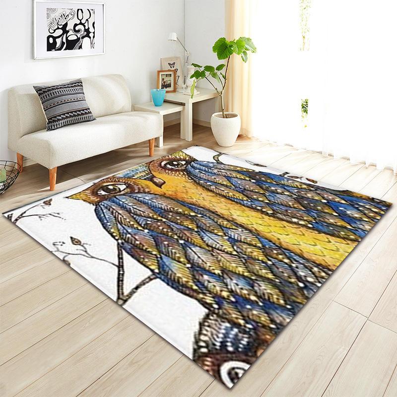 Tapis d'impression Animal moderne hibou pour salon chambre enfants jouer tente tapis de sol tapis anti-dérapant couverture décoration de la maison