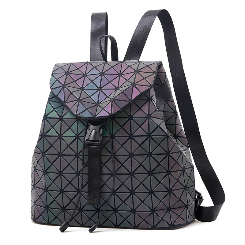 Women Backpack Luminous Geometric Plaid Sequin Female Backpacks For Teenage Girls Bagpack Drawstring Bag Holographic Backpack #3