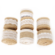 2 Meters 5 cm Jute Burlap Hessian Lace Ribbon Rolls For Party