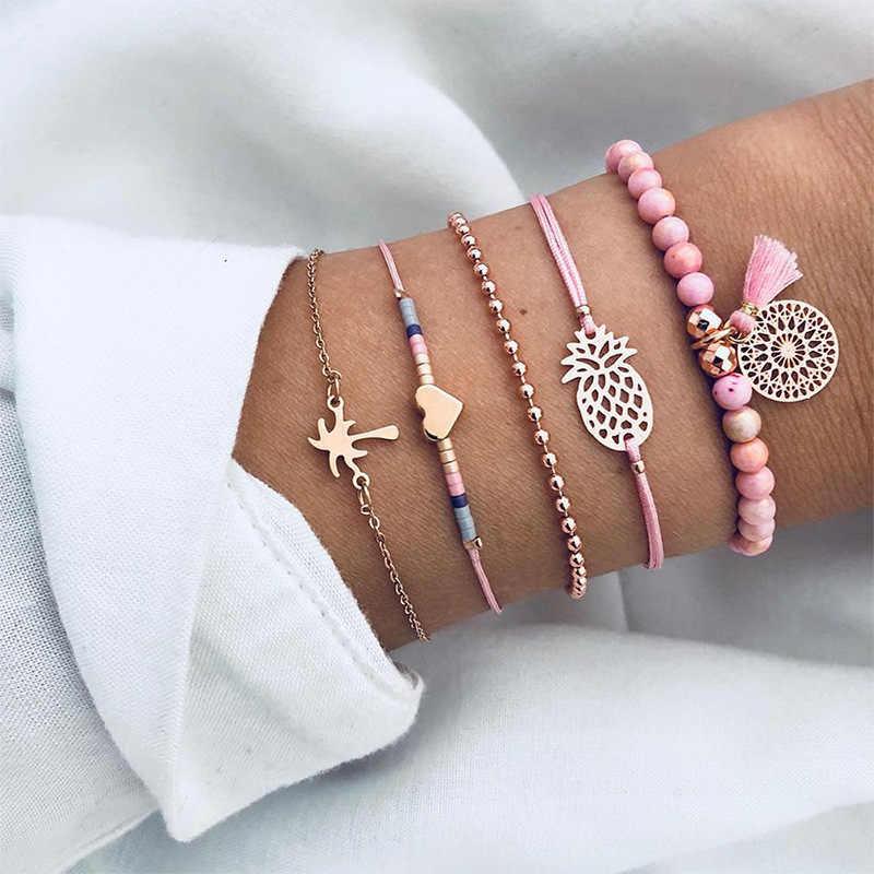 Conjuntos de Charme da moda Pulseiras Para As Mulheres pulseiras Moda Multicamadas Cadeia de borla frisado Strand Pulseiras Pulseiras Jóias Presentes