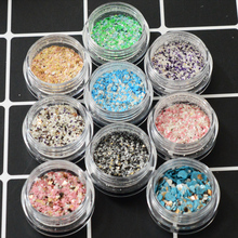 1Box Multi-color Sandy Sugar Summer Marble Mixed Glitter Flakes Nail Art Powder Dust 3D Sequin Tool Decoration Manicure JI01-09