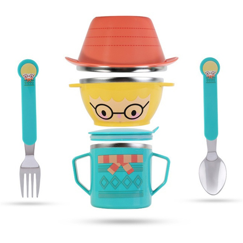 Infant Food Bowl Cup Feeding Dinner Fork Spoon for Children Kids Bowl Cartoon Child Plate Tableware Dishware Dinnerware Set 5 set baby tableware dish bowl fork spoon cup set natural bamboo fiber bowls cute cartoon child feeding tableware kid dinnerware