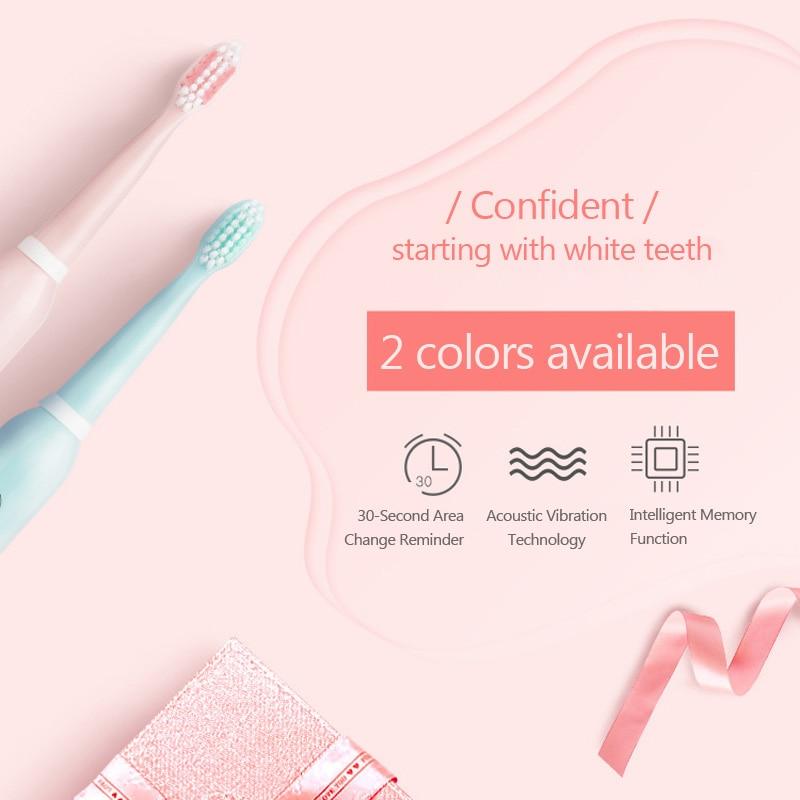 usb recarregável escovas de dentes com 3pcs