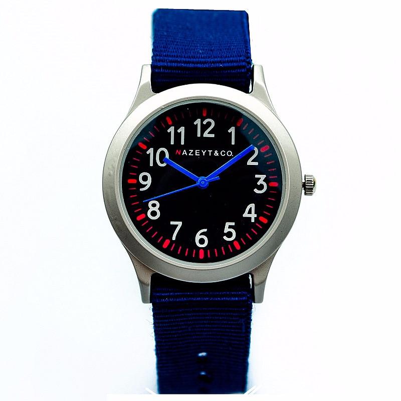 Men And Women Blue Second Hand Movement Quartz Couples Wrist Watch Children Contracted Nylon Military Watch
