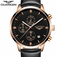 Mens Watches Top Brand Luxury GUANQIN Men Military Sport Luminous Wristwatch Chronograph Leather Quartz Watch Relogio