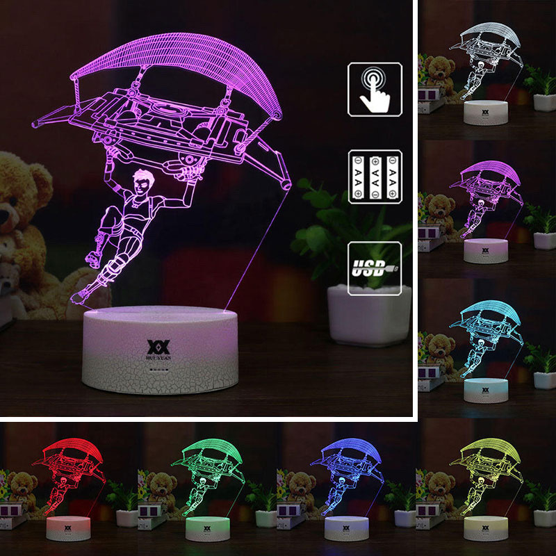 3D LED Illusion Night Light Fortnite Souvenir 3D Night Lamp 7 Colors Changeable USB Touch Table Desk Lamp Art Kids Holiday Gifts 3 styles novelty lighting hockey player ice player 3d led night light touch usb lamp holiday gifts table desk light for kids