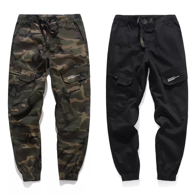 Fashion Streetwear Youth Stylish Jogger Pants Men Jeans Camouflage Black Color Punk Casual Lacing Army Military