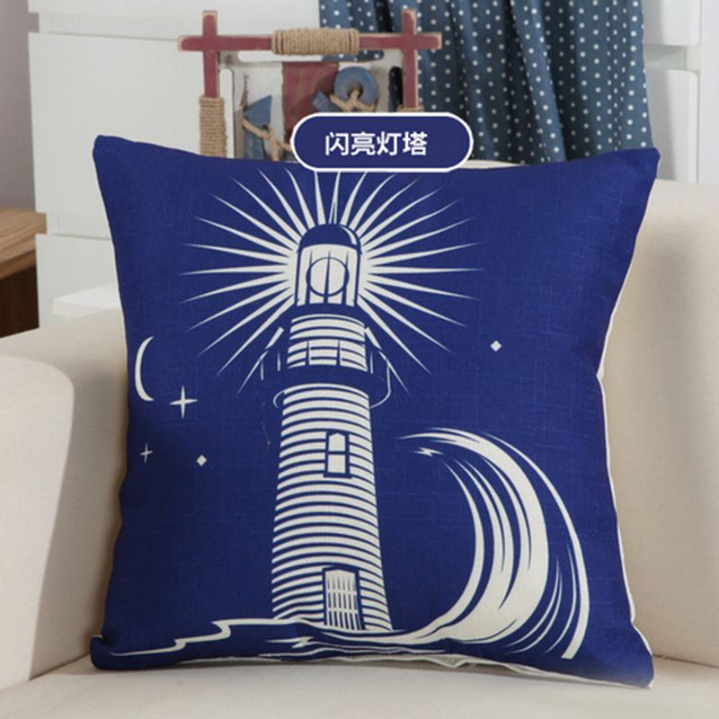 Home Decorative Throw Pillows Sea Sailing Cushion Cover Boat Anchor Lighthouse Cushion Cover Funda Cojines