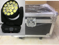 2pcs/lot flight case Super Zoom Moving Head Wash LED Zoom Light 19x15w RGBW 4in1 Perfect For Stage Dj Light