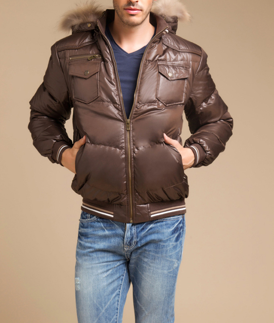 Новое поступление мужской пуховик с натуральной меховой капюшон коричневый черный короткая парка Теплая куртка мотоцикла для мальчиков плюс размер