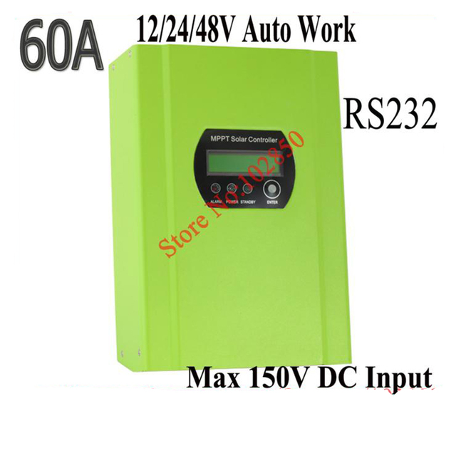 60A MPPT Solar Charger Controller,12/24/48V Auto work,Max Solar input 150V,upto 99% efficiency,RS232communication