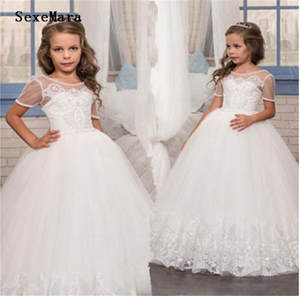 Dress Pageant-Gown First-Communion-Dress Flower-Girls Wedding White Pearls Lace for Custom-Made